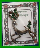 Christmas PIN #0352 Buck Reindeer Pewter Pin with Green Holly ~ running ... - $19.75
