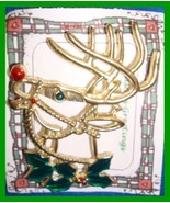 Christmas PIN #0347 Buck Deer Goldtone with Green Holly & Red Nose ~look... - $19.75