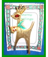 Christmas PIN #0359 MYLU Rhinestone Buck Reindeer Goldtone ~looking left... - $79.09