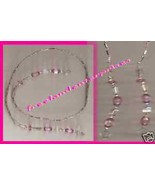 Beaded Bookmark Thong #11 Pink & Silver Beads 16 inches NEW - $9.85