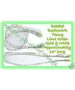 Beaded Bookmark Thong #07 Lime Green-Gold-White Beads 16 in - $9.85