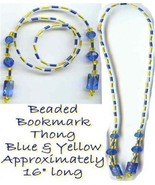 Beaded Bookmark Thong #01 Blue And Yellow Beads 16 inch NEW - $9.85