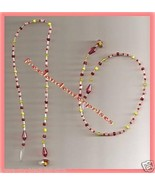 Beaded Bookmark Thong #15 Red-Yellow-White Beads 16 inches - $9.85