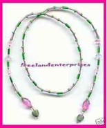 Beaded Bookmark Thong #10 Pink & Green w/Green Heart 16 in - $9.85