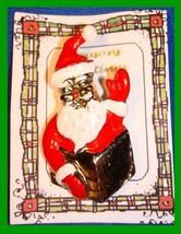 Christmas PIN #0293 VTG Santa in Chimney Waving Enamel Red-White HOLIDAY... - $14.80