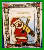 Christmas PIN #0291 Signed BJ Santa & Fiddle Goldtone & Enamel HOLIDAY B... - $19.75