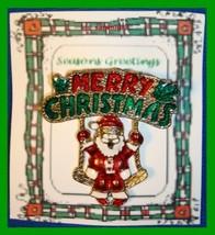 Christmas PIN #0300 VTG Merry Christmas Santa Claus on Swing Goldtone Br... - $19.75