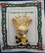 Christmas PIN #0341 Reindeer Goldtone wEnamel Green Holly & Crystal-8 po... - $19.75