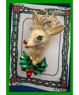 Christmas PIN #0344 Gerrys Buck Deer Goldtone w/Green Eye~Enamel Green/R... - $19.75