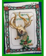 Christmas PIN #0342 Buck Deer & Holly Goldtone w/Enamel Green & Red - $14.80