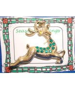 Christmas PIN #0365 Buck Reindeer Goldtone & Green Rhinestone Pin ~Looki... - $24.70