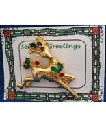Christmas PIN #0366 Buck Reindeer Goldtone & Holly Avon Tac Pin ~Looking... - $14.80
