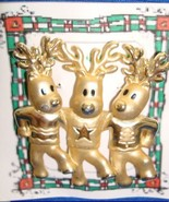 Christmas PIN #0377 Signed AJC Vintage 3 Reindeer/Deer Dancing Goldtone Pin - $19.75