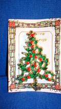 Christmas PIN #0439 Vtg Goldtone Green & Red Enamel Christmas Tree Pin w... - $21.73