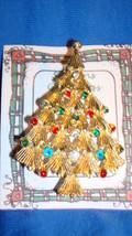 Christmas PIN #0450 Vtg Christmas Tree Goldtone w/Enamel & Rhinestone Or... - $14.80