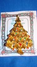 Christmas PIN #0451 Vtg Christmas Tree Goldtone w/Rhinestone & Enamel Or... - $14.80