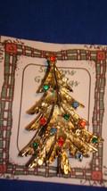 Christmas PIN #0454 Vintage Goldtone Christmas Tree with Rhinestone Orna... - $19.75