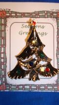 Christmas PIN #0455 Goldtone Christmas Tree TAC Pin w/enamel ornament & ... - $9.85