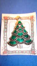 Christmas PIN #0445 Silvertone, Green Enamel, Marcasite & Rhinestone Xma... - $24.70