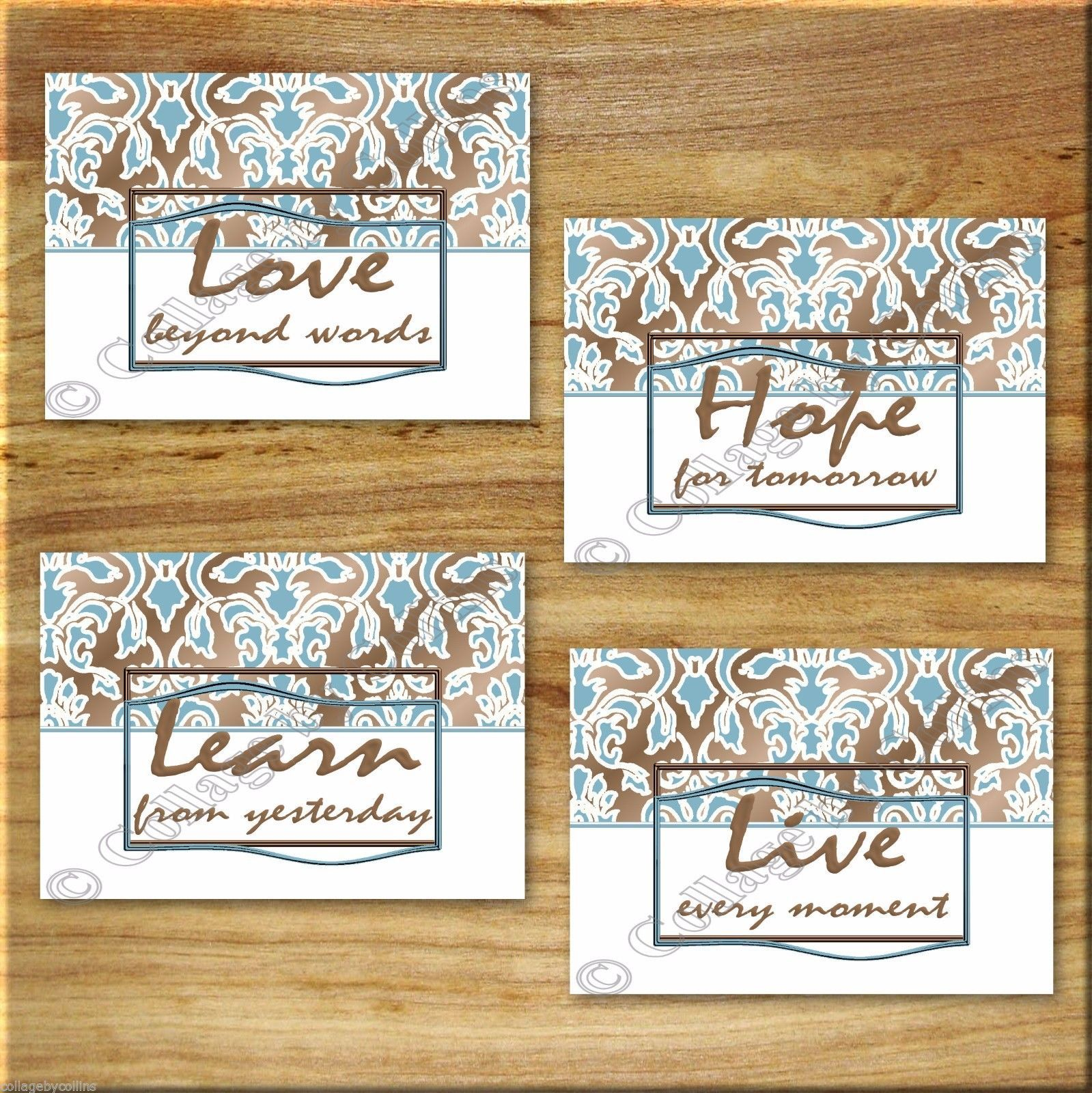 Brown Blue Damask Wall Word Art Prints Inspirational Quotes Learn Live Love Hope - $13.79