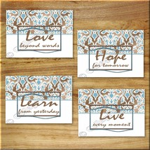 Brown Blue Damask Wall Word Art Prints Inspirational Quotes Learn Live L... - $13.79