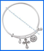 Bracelet Precious Charms Bracelet ~ CROSS ~ Inspirational ~Silvertone NEW in Box - $14.80
