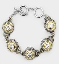 GORGEOUS Designer Silver Gold BALINESE CZ Crystal Links Toggle Bracelet - $29.99