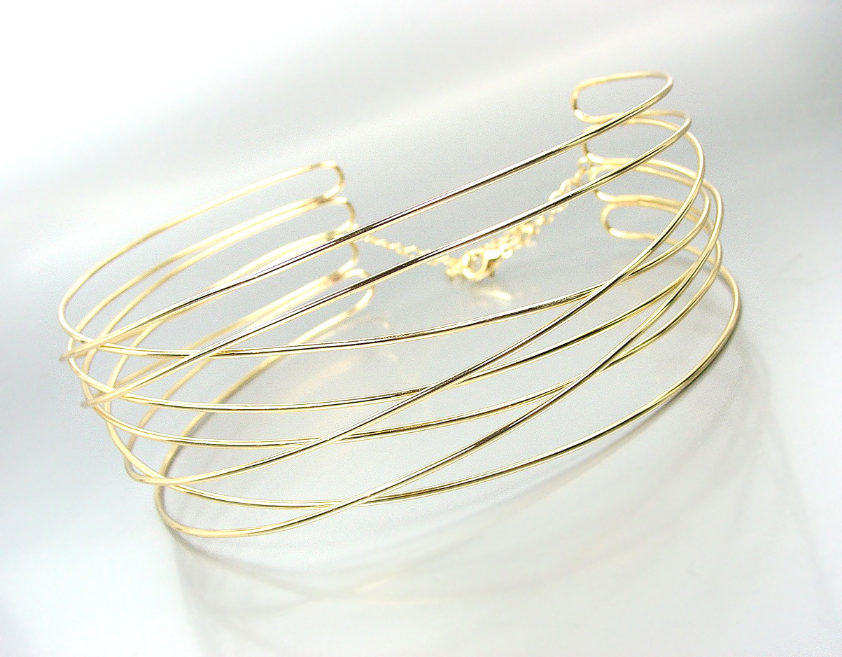 CHIC Urban Anthropologie Gold Metal Ribbed Wire Choker Necklace