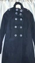 Zara Black trench Coat Jacket Warm Wear Winter high collar knee length xs - $98.99