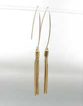 SEXY Lightweight Urban Anthropologie Gold Tassel Threader Dangle Earrings - $15.99