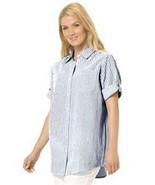 Women's Plus Seersucker Bigshirt Button-Tab S/S... - $21.99