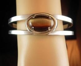 Tigereye Cuff Bracelet Vintage Modernist Bangle Birthday Anniversary Fri... - $35.00