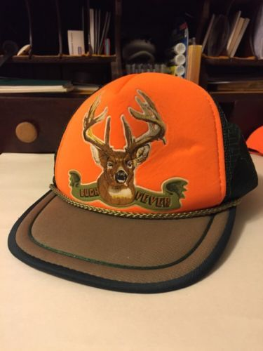 Vintage Fieldmaster Buck Fever Hat Orange Trucker Cap Snapback Mesh Hunting Gear