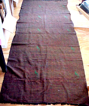 hand woven table runner or shawl Panama embroidered rust cotton fabric