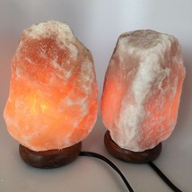"2x Himalaya Natural Handcraft Rough Raw Crystal Salt Lamp, 7.75""-8.25"" T... - $25.60"
