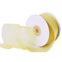 "1.5"" Plain Sheer Organza Nylon Ribbon 25 Yards - Yellow - $6.92"
