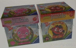 "Set 2 Moshi Monsters Ravensburger 3D Puzzle Poppet Diavlo 54 Pc 2.7"" Rou... - $15.99"
