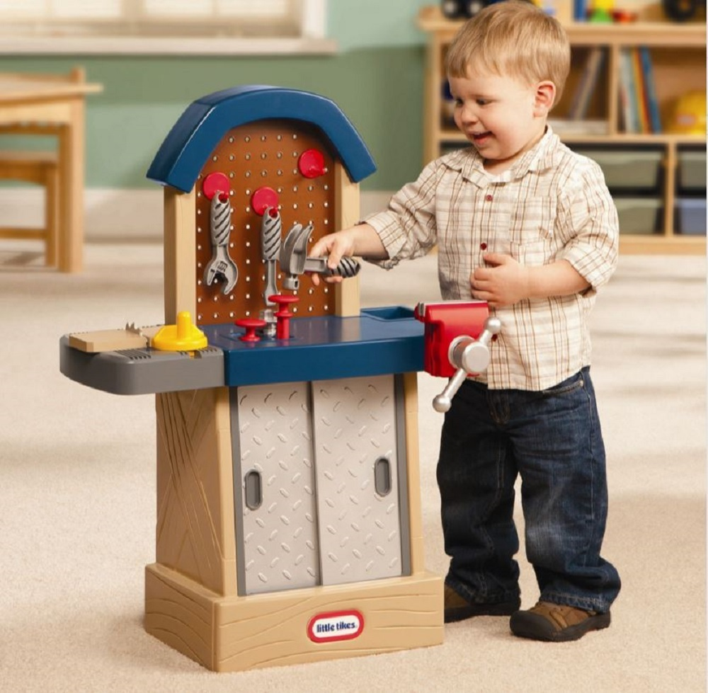 Kids Workbench Toy Workshop Play Tool Set Hammer Nail Saw Vice Wrench Build NEW