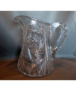 Antique American Cut Glass Pitcher with Hobstar... - $200.00