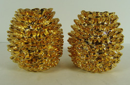 Department 56 Gold Metal Pinecone Candle Holder... - $29.69