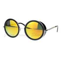 Studio Cover Side Shield Sunglasses Round Circle Color Mirror Lens - $9.95