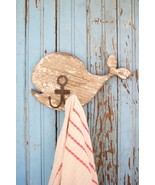 Distressed White Wooden Whale Wall  Hooks Primitive  Home Decor,11'' X 6''H - $44.55