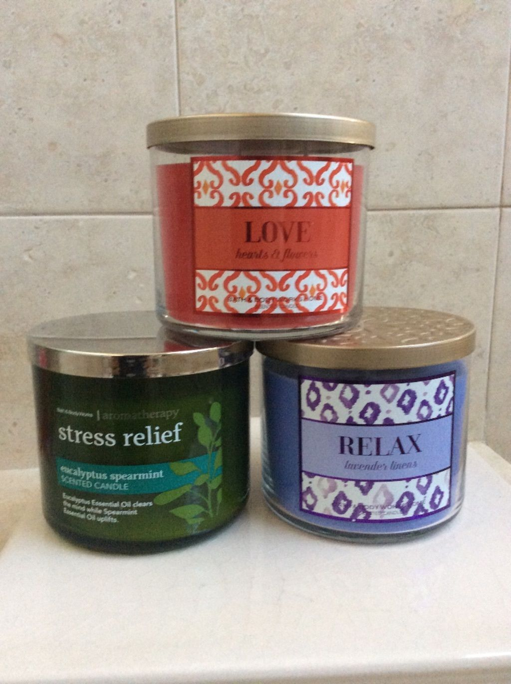 Bath Body Works 3 Wick Candle, Select One Scent:  Love, Relax, Stress Relief