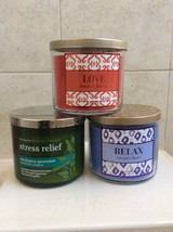Bath Body Works 3 Wick Candle, Select One Scent:  Love, Relax, Stress Re... - $19.99