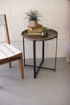 Recycled Round Rustic Metal Tray w/Folding Base End/Accent Table Industrial - €147,15 EUR
