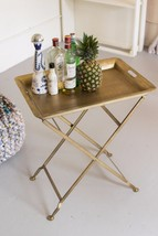 Antique Brass Finish Rustic Tray w/Folding Base Accent Table Bar,25'' x 29''H. - $287.10