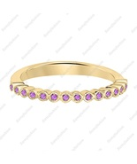Round Cut Amethyst 14k Yellow Gold Over Stackable Half-Eternity Wedding ... - $75.89