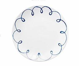Gentle Meow 8 Inch Creative Cartoon Ceramic White Round Dishes, Blue Ribbons - $19.23