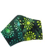Floral Face Mask Green Yellow Batik Cotton Adjustable Facemask Handmade USA - $10.00