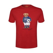 New Ralph Lauren Polo Bear T-SHIRT Mens Black 2018 Red Soccer Monthly Tee Nwt - $79.99